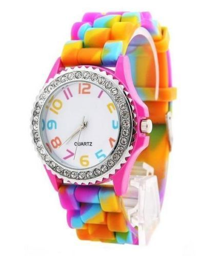 Unisex Classic Rainbow Jelly Silicon Crystal Wrist Watch
