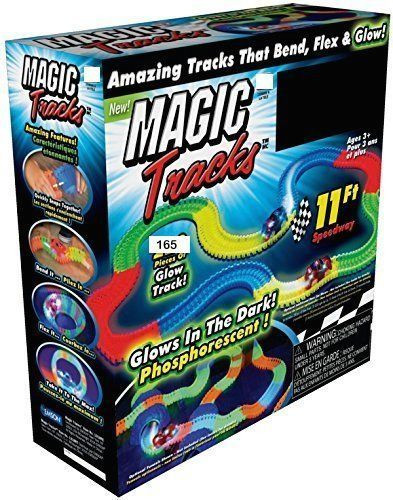 MAGIC TRACKS Glow N Dark LED LIGHT UP RACE CAR Bend Racetrack 220 | 330 | 440Pcs